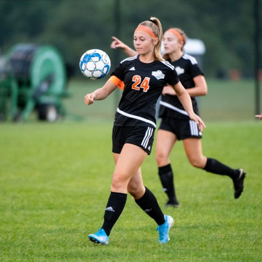 Maddi Davis (24) controls the ball during the girls' soccer game between Central York and South Western at Central York High School, Thursday, September 12, 2019. The Panthers defeated the Mustangs 7-0.