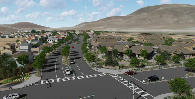 Renderings of the proposed 4,700-unit Daybreak project in southeast Reno's former Butler ranch site. This shows the south entrance.