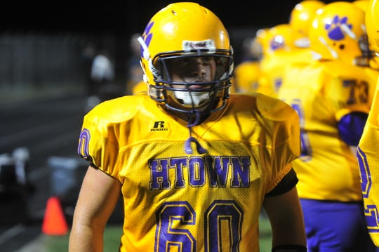 Lane Culy of Hagerstown walks the sideline of Mark Childs Field in a game against Centerville on Friday, Aug. 30, 2019.