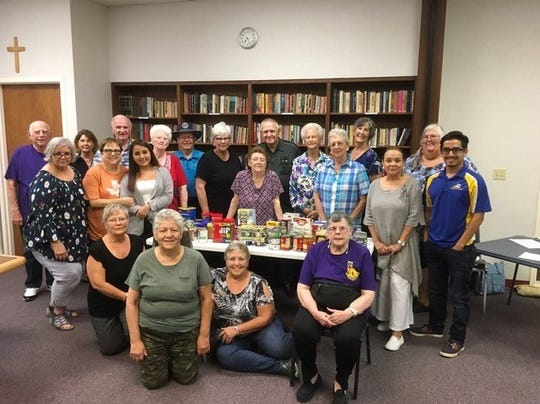 The Concho Pearl Lions meeting at St. Luke United Methodist Church on Sept. 9 donated non-perishable food items to the Angelo State University Ram Food Pantry.  Cody Vasquez, Angelo State University Student Activities Manager (far right), met with members of the Concho Pearl Lions Club to accept donations of non-perishable food for the ASU Ram Pantry.  The Ram Pantry offers essential food items to ASU students facing food insecurity.