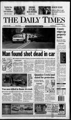 The June 6, 2001, Daily Times front page featured an article on the death on ECI officer Gregory Collins.