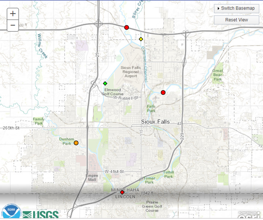 A graphic showing flooding around the Sioux Falls area.