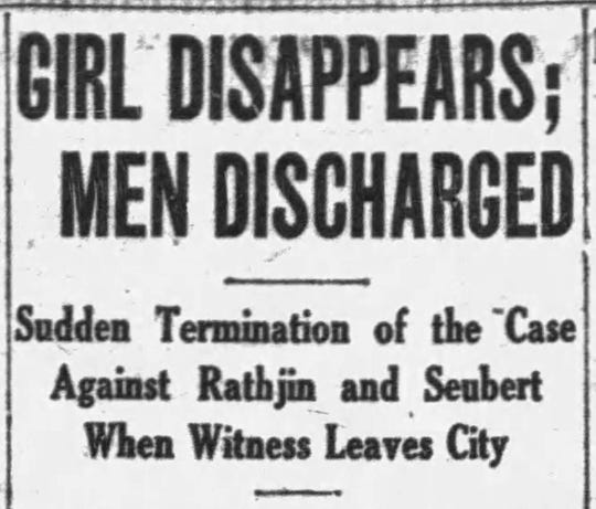 A newspaper clipping from when Katherine Kline left the city after signing a false affidavit that the men who raped her were innocent. She was later found in Chicago and told the truth of what happened.
