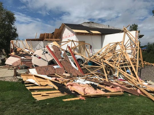 A garage destroyed by a tornado in Sioux Falls.