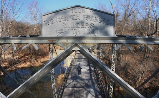 The one-lane Riverside Bridge in Ozark has been disassembled and stored so that it can be put back together as part of a Johnny Morris development to the south. It will once again span the Finley River. The new location will be closer to the spot where it was first built in 1909 by The Canton Bridge Builders of Canton, Ohio.