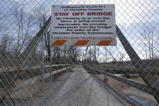 The one-lane Riverside Bridge in Ozark has been disassembled and stored so that it can be put back together as part of a Johnny Morris development to the south. It will once again span the Finley River. The new location will be closer to the spot where it was first built in 1909. It was closed in 2010 due to flood damage. It was renovated and re-opened in 2013. But closed again in 2015 due, once again, to damage caused by flooding.