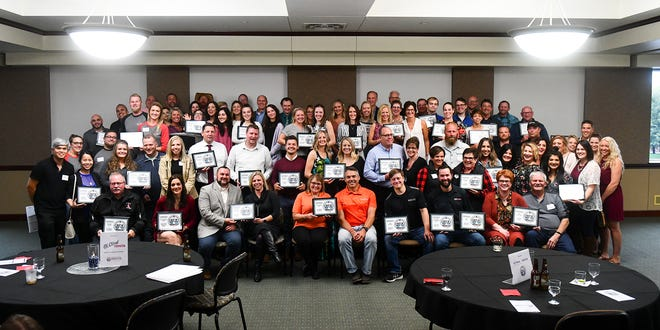 Winners pose for a group photo following the St. Cloud Times/LocaliQ Best of Central Minnesota Awards program Thursday, Sept. 12, 2019, at the College of St. Benedict in St. Joseph.