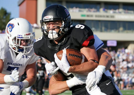 SCSU receiver John Solberg catches a pass Thursday, Sept. 5, 2019, at the University of Mary. The Huskies won 35-12.