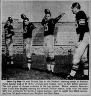 The Green Bay Press-Gazette ran a picture of rookie Bart Starr working out with the other quarterbacks at training camp in Stevens Point in 1956.
