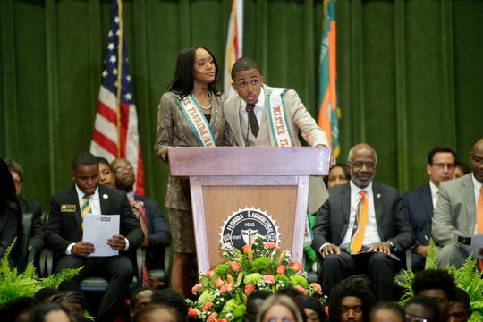 Miss FAMU Kyra Freeman and Mr. FAMU Crenel Francis welcome the new freshman students during the President's Convocation Friday, Sept. 13, 2019.
