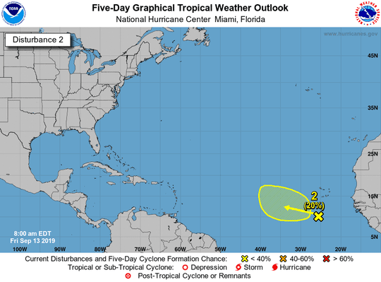 Tropical conditions 8 a.m. Sept. 13, 2019