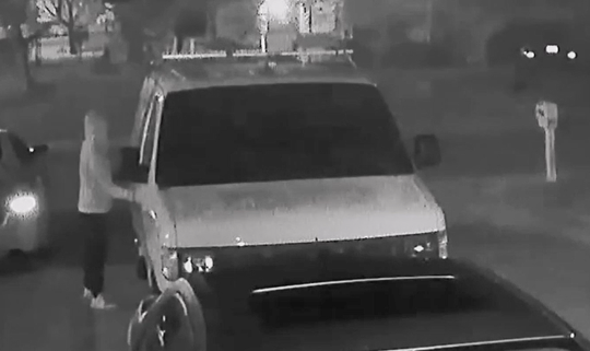 A burglary suspect was shown on surveillance video entering a car in Port St. Lucie on August 27, 2019.