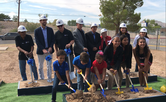 EPISD Trustees Chuck Taylor, Daniel Call and Bob Geske help Charles Murphree break ground Sept. 13, 2019 on the new PK-8 school named in his honor, which is scheduled to open fall 2022.