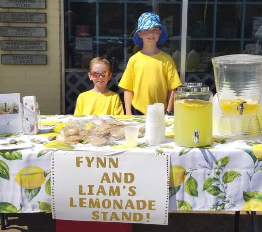 Liam Kiss and Fynn McFarland at one of their recent lemonade stands to raise money for the South Carolina Botanical Gardens.