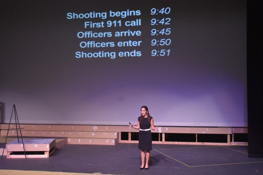 Lisa Hamp explains how her life changed in the span of 11 minutes during the Virginia Tech mass shooting in 2017. Hamp spoke Friday at Moorpark College.