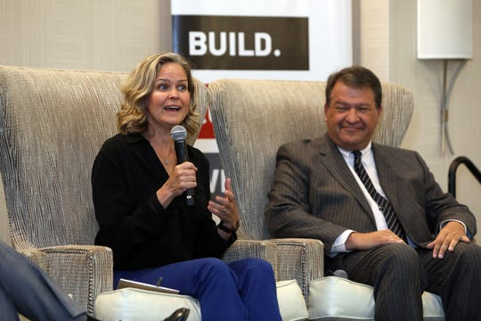 Nassau County Executive Laura Curran participates in a discussion on the future of New York suburbs as Westchester County Executive George Latimer looks on during a Business Council of Westchester event Sept. 13, 2019 at Crowne Plaza in White Plains.