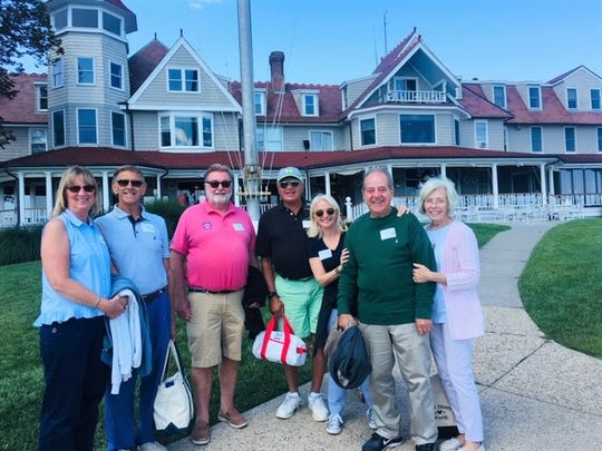 (L-R) Sailing Heals guests Pam and Robert Christman, boat Captain Jed Kelly, Larchmont Yacht Club Historian Lucian Leone, Sailing Heals co-founder Michele Gallagher Glesinger and guests Louis and Ann Marie Vaccaro
