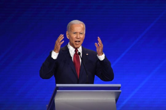 Democratic presidential hopeful former Vice President Joe Biden speaks during the third Democratic primary debate of the 2020 presidential campaign season hosted by ABC News in partnership with Univision at Texas Southern University in Houston, Texas on Thursday, Sept. 12.