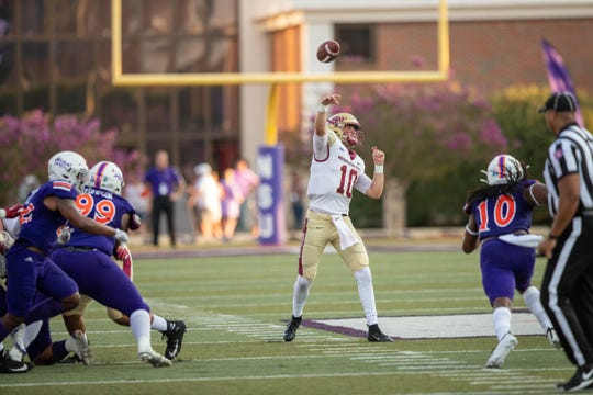 Midwestern State quarterback Zach Purcell passes against Northwestern State in the Mustangs' 33-7 victory Saturday, Sept. 7, 2019, in Natchitoches, Louisiana.