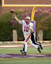 Midwestern State quarterback Zach Purcell throws on the run during the Mustangs' 33-7 victory against Northwestern State on Saturday, Sept. 7, 2019, in Natchitoches, Louisiana.
