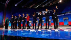 From left, Democratic presidential candidates Sen. Amy Klobuchar, D-Minn., Sen. Cory Booker, D-N.J., South Bend Mayor Pete Buttigieg, Sen. Bernie Sanders, I-Vt., former Vice President Joe Biden, Sen. Elizabeth Warren, D-Mass., Sen. Kamala Harris, D-Calif., entrepreneur Andrew Yang, former Texas Rep. Beto O'Rourke and former Housing Secretary Julian Castro are introduced for the Democratic presidential primary debate hosted by ABC on the campus of Texas Southern University Thursday, Sept. 12, 2019, in Houston.