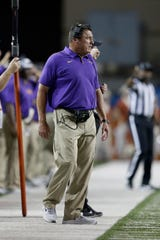 Head coach Ed Orgeron of the LSU Tigers watches from the sideline in the second half against the Texas Longhorns at Darrell K Royal-Texas Memorial Stadium on September 7, 2019 in Austin, Texas.