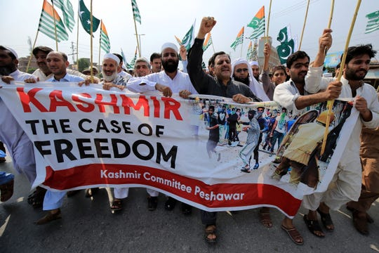People shout slogans during an anti-India protest in Peshawar, Pakistan, 13 September 2019. Tensions are high in the region after the Indian government on 05 August pushed a resolution through parliament that removes the special constitutional status granted to the disputed Kashmir region, a decision condemned by Pakistan. Kashmir has been a matter of dispute between India and Pakistan since 1947 when both countries became sovereign states.