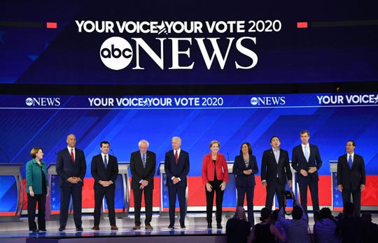 Democratic presidential candidates at debate in Houston on Sept. 12, 2019