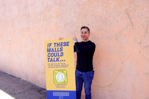 Bernard Acoca, CEO of the El Pollo Loco restaurant chain, by a blank wall that once was home to a classic Los Angeles mural. El Pollo Loco is working with Snapchat on an augmented reality campaign to restore the murals