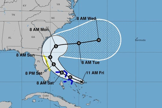 The forecast track of what's predicted to become Tropical Storm Humberto.