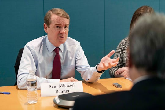 Democratic presidential candidate  Michael Bennet talks with the USA TODAY Editorial Board on Sept. 11, 2019.