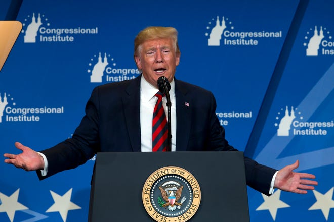 President Donald Trump speaks at the 2019 House Republican Conference Member Retreat Dinner in Baltimore, Thursday, Sept. 12, 2019. (AP Photo/Jose Luis Magana) ORG XMIT: MDJL121