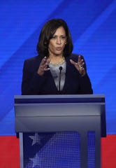 Democratic presidential candidate Sen. Kamala Harris (D-CA) speaks during the Democratic Presidential Debate at Texas Southern University's Health and PE Center on Sept. 12, 2019 in Houston, Texas. Ten Democratic presidential hopefuls were chosen from the larger field of candidates to participate in the debate hosted by ABC News in partnership with Univision.