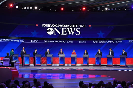 From left: Democratic presidential hopefuls Senator of Minnesota Amy Klobuchar, Senator of New Jersey Cory Booker, Mayor of South Bend, Indiana, Pete Buttigieg, Senator of Vermont Bernie Sanders, Former Vice President Joe Biden, Senator of Massachusetts Elizabeth Warren, Senator of California Kamala Harris, Tech entrepreneur Andrew Yang, Former Representative of Texas Beto O'Rourke and Former housing secretary Julian Castro speak during the third Democratic primary debate of the 2020 presidential campaign season hosted by ABC News in partnership with Univision at Texas Southern University in Houston, Texas on Sept. 12, 2019.