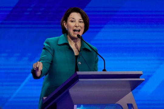 Democratic presidential candidate Sen. Amy Klobuchar, D-Minn., answers a question Thursday, Sept. 12, 2019, during a Democratic presidential primary debate hosted by ABC at Texas Southern University in Houston.