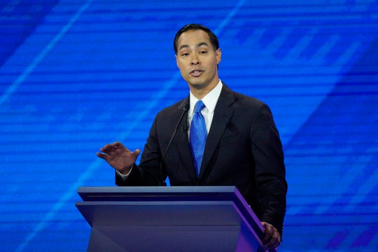 Democratic presidential candidate former Housing Secretary Julian Castro gives his closing statement Thursday, Sept. 12, 2019, during a Democratic presidential primary debate hosted by ABC at Texas Southern University in Houston. (AP Photo/David J. Phillip)