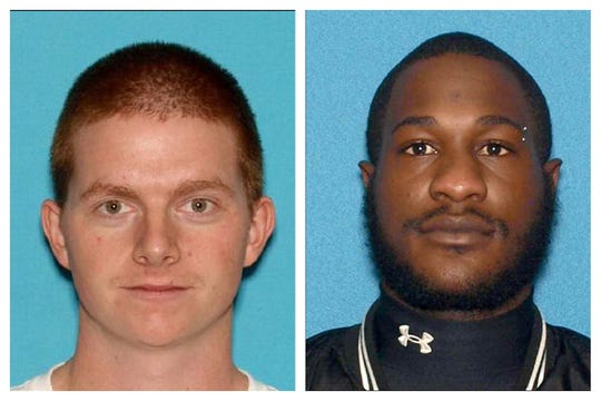 New Jersey Motor Vehicle Commission photos of Mark J. Austin, 28, of Brick, (left) and Jeray Melton, 27, of Salem City (right).