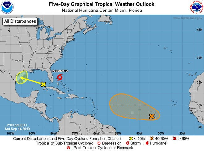 The NHC was tracking Tropical Storm Humberto and two other disturbances on Saturday, Sept. 14
