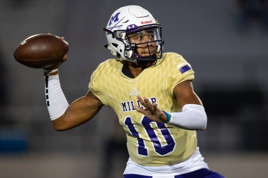 Miller's quarterback Andrew Body throws the ball during the first quarter of their game against Victoria East at Buccaneer Stadium on Friday Sept. 13, 2019.