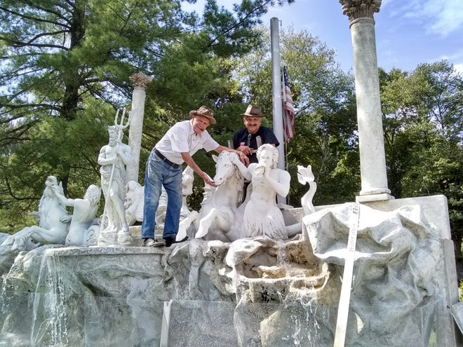 """Visitors to the Mercer County Italian American Festival will be able to toss coins into a large and working replica of the Fountian of Trevi, made famous in the movie """"Three Coins in the Fountain"""" about Rome. The sculpture's new owner, John Scarpati, left, and his son John Jr. are renovating it for the Sept. 27-29 festival."""