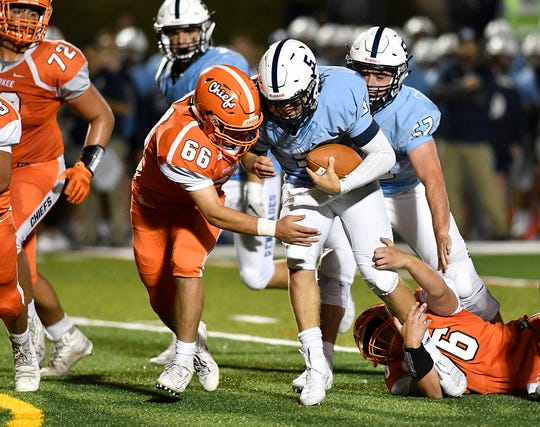 Shawnee's Matt Welsey runs for a gain during a game against Cherokee on Friday, Sept. 13, 2019.