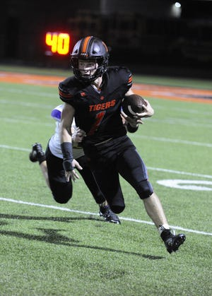 Waverly running back Payton Shoemaker runs the ball during a game against Unioto in Waverly, Ohio on Friday Sept. 13, 2019.