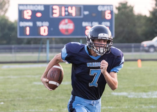 Adena's Tate Myers runs the ball during a 39-18 win over Washington in Frankfort, Ohio, on Sept. 13, 2019.