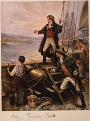 A painting by artist Percy Moran depicts Francis Scott Key standing on boat, with right arm stretched out toward the United States flag flying over Fort McHenry, Baltimore, Maryland.