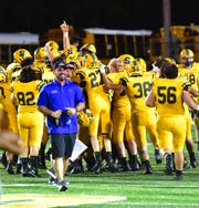 The celebration is on at Sycamore as the Aviators score a last-second win over Princeton 16-13, Sept. 13, 2019.