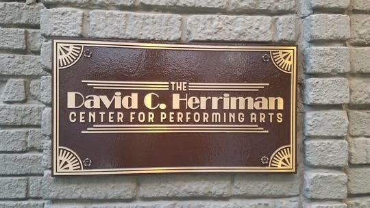 A new plaque on the building that houses the Know Theatre. It notes the building's new name, The David C. Herriman Center for Performing Arts, commemorating the late philanthropist whose generosity helped the Know Theatre thrive for so many years. Photo: David Lyman.