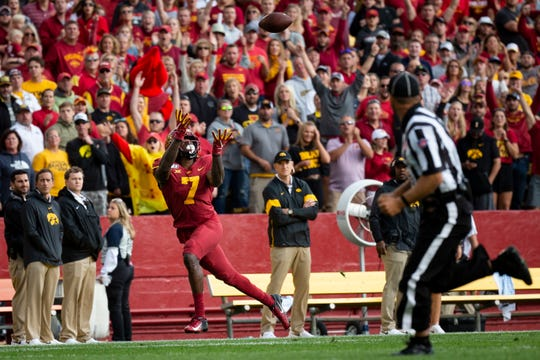 Iowa State wide receiver La'Michael Pettway (R-Sr.) (7) catches a deep pass for a touchdown to make the score 6-3 during the Cy-Hawk football game at Jack Trice Stadium on Saturday, Sept. 14, 2019 in Ames.