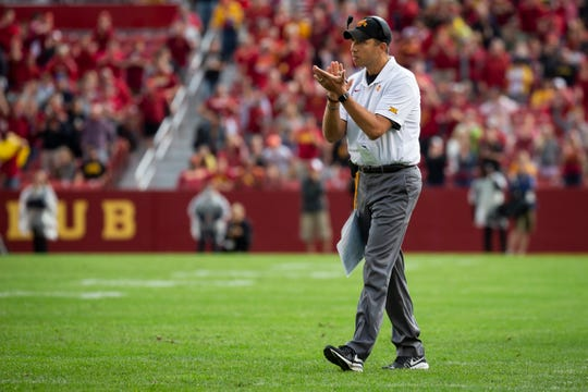 Iowa State head coach Matt Campbell claps after a touchdown in the first quarter of the Cy-Hawk football game at Jack Trice Stadium on Saturday, Sept. 14, 2019 in Ames.