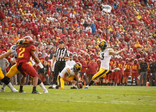 Iowa junior place kicker Keith Duncan kicks a field goal in the first quarter against Iowa State on Saturday, Sept. 14, 2019, at Jack Trice Stadium in Ames.