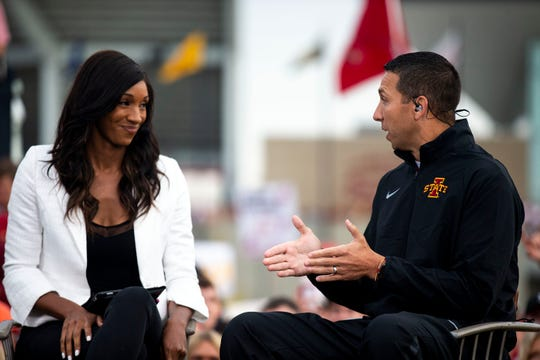 "ESPN's Maria Taylor interviews Iowa State coach Matt Campbell during ""College GameDay"" on Sept. 14. ""GameDay"" will be live on Beale Street on Saturday morning ahead of the Memphis-SMU game that evening."
